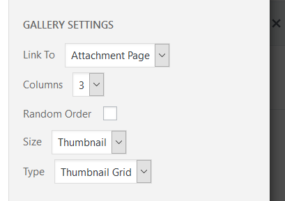 gallery settings